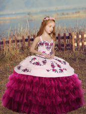 Fashionable Fuchsia Ball Gowns Organza Straps Sleeveless Embroidery and Ruffles Floor Length Lace Up Pageant Gowns For Girls
