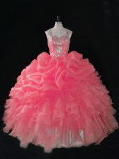 Baby Pink Ball Gowns Beading and Ruffles and Pick Ups 15th Birthday Dress Zipper Organza Sleeveless