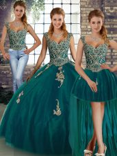 Sleeveless Lace Up Floor Length Beading and Appliques Sweet 16 Quinceanera Dress