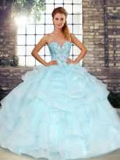 Sleeveless Floor Length Beading and Ruffles Lace Up 15th Birthday Dress with Light Blue