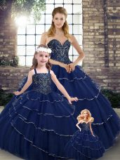 Tulle Sweetheart Sleeveless Brush Train Lace Up Beading and Ruffled Layers Quinceanera Dress in Navy Blue