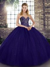 Ideal Purple Lace Up Sweetheart Beading 15th Birthday Dress Tulle Sleeveless