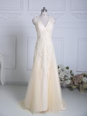 Champagne Column/Sheath Tulle V-neck Sleeveless Lace and Appliques Zipper Homecoming Dress Brush Train