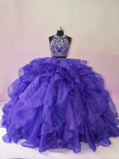 Sleeveless Organza Brush Train Backless Sweet 16 Dresses in Purple with Beading and Ruffles