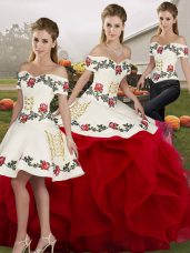 Excellent Floor Length White And Red Quinceanera Dresses Tulle Sleeveless Embroidery and Ruffles