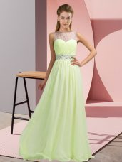 Perfect Yellow Green Empire Scoop Sleeveless Chiffon Floor Length Backless Beading Going Out Dresses