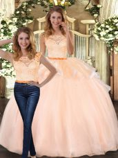 Dramatic Peach Sleeveless Lace Floor Length Quinceanera Dresses