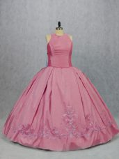 Eye-catching Pink Scoop Zipper Embroidery Quince Ball Gowns Sleeveless