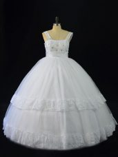 Dazzling White A-line Straps Sleeveless Tulle Floor Length Lace Up Beading and Appliques Quince Ball Gowns