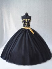 High Class Strapless Sleeveless Lace Up Sweet 16 Dress Black Tulle