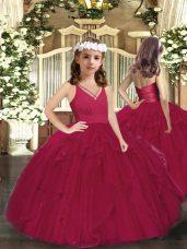 Dazzling Floor Length Ball Gowns Sleeveless Burgundy Kids Pageant Dress Zipper