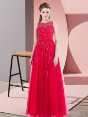 Wonderful Coral Red Sleeveless Beading Floor Length Prom Gown