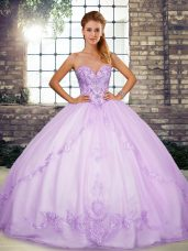 Lavender Sleeveless Floor Length Beading and Embroidery Lace Up Vestidos de Quinceanera
