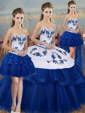Wonderful Ball Gowns Quinceanera Gown Royal Blue Sweetheart Tulle Sleeveless Floor Length Lace Up