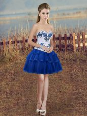 Simple Ball Gowns Club Wear Royal Blue Sweetheart Organza Sleeveless Mini Length Lace Up