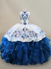 Flare Organza Halter Top Sleeveless Lace Up Embroidery and Ruffles 15 Quinceanera Dress in Blue And White