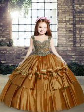 Superior Brown Taffeta Lace Up Straps Sleeveless Floor Length Little Girls Pageant Dress Beading
