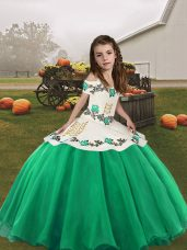 Turquoise Straps Neckline Embroidery Kids Formal Wear Sleeveless Lace Up
