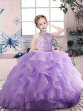 Great Lavender Ball Gowns Beading and Ruffles Little Girl Pageant Dress Zipper Organza Sleeveless Floor Length