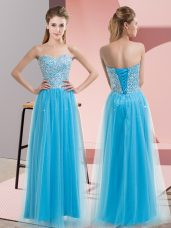 Custom Fit Aqua Blue Tulle Lace Up Evening Dress Sleeveless Floor Length Beading