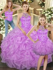 Halter Top Sleeveless Quinceanera Dress Floor Length Beading and Ruffles Lilac Tulle