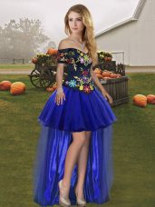 Embroidery Winning Pageant Gowns Royal Blue Lace Up Sleeveless High Low