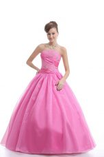Rose Pink Ball Gowns Strapless Sleeveless Organza Floor Length Lace Up Embroidery Quince Ball Gowns
