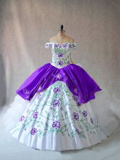 White And Purple Sleeveless Embroidery and Ruffles Floor Length 15 Quinceanera Dress