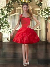 Red Sleeveless Tulle Lace Up Party Dress for Toddlers for Prom and Party