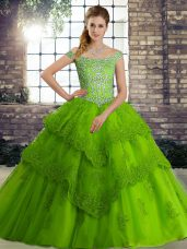 Green Tulle Lace Up Off The Shoulder Sleeveless Quince Ball Gowns Brush Train Beading and Lace