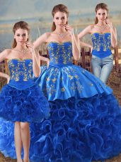 Floor Length Royal Blue Sweet 16 Quinceanera Dress Fabric With Rolling Flowers Sleeveless Embroidery and Ruffles