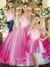 Free and Easy Sleeveless Tulle Floor Length Lace Up Quince Ball Gowns in Fuchsia with Beading
