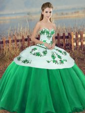 Green Tulle Lace Up 15 Quinceanera Dress Sleeveless Floor Length Embroidery and Bowknot