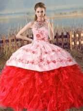 Sleeveless Court Train Lace Up Floor Length Embroidery and Ruffles Sweet 16 Dresses