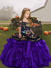 Organza Straps Sleeveless Lace Up Embroidery and Ruffles Custom Made Pageant Dress in Purple