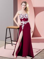 Fuchsia Chiffon Zipper Homecoming Dress Sleeveless Floor Length Lace and Appliques