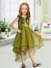 Sleeveless Sequins and Bowknot Zipper Flower Girl Dress