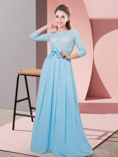 Sumptuous Baby Blue Court Dresses for Sweet 16 Wedding Party with Lace and Belt Scoop 3 4 Length Sleeve Side Zipper