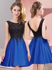 Scoop Sleeveless Satin Damas Dress Lace Zipper