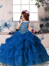 Organza Sleeveless Floor Length Little Girl Pageant Dress and Beading and Pick Ups