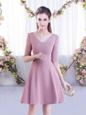 Deluxe V-neck Half Sleeves Zipper Bridesmaids Dress Pink Chiffon