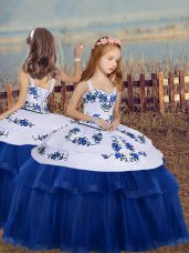Blue Ball Gowns Straps Sleeveless Tulle Floor Length Lace Up Embroidery Party Dress for Girls