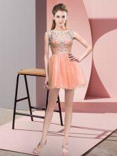 Sleeveless Zipper Mini Length Beading Prom Dresses