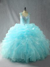 Tulle Sleeveless Quinceanera Dress and Beading and Ruffles