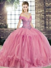 Artistic Watermelon Red Ball Gowns Tulle Off The Shoulder Sleeveless Beading and Ruffles Floor Length Lace Up Ball Gown Prom Dress