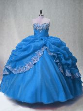 Designer Blue Sleeveless Floor Length Beading and Appliques and Pick Ups Lace Up Quinceanera Gown