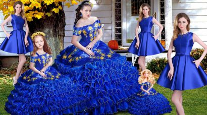 Royal Blue Sleeveless Embroidery and Ruffles 15th Birthday Dress