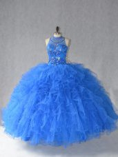 Custom Design Royal Blue Sleeveless Beading and Ruffles Floor Length 15th Birthday Dress