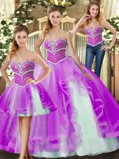 Custom Designed Lilac Ball Gowns Tulle Sweetheart Sleeveless Beading Floor Length Lace Up Quinceanera Gowns