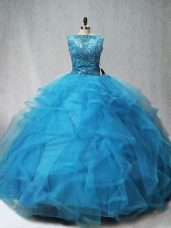 Aqua Blue Ball Gown Prom Dress Sweet 16 and Quinceanera with Beading and Ruffles Scoop Sleeveless Brush Train Lace Up